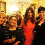 Pilar Muñoz y Elvira Jardón con la actriz Anabel Alonso y Elia Galera en los Premios Cuida de Ti 2012